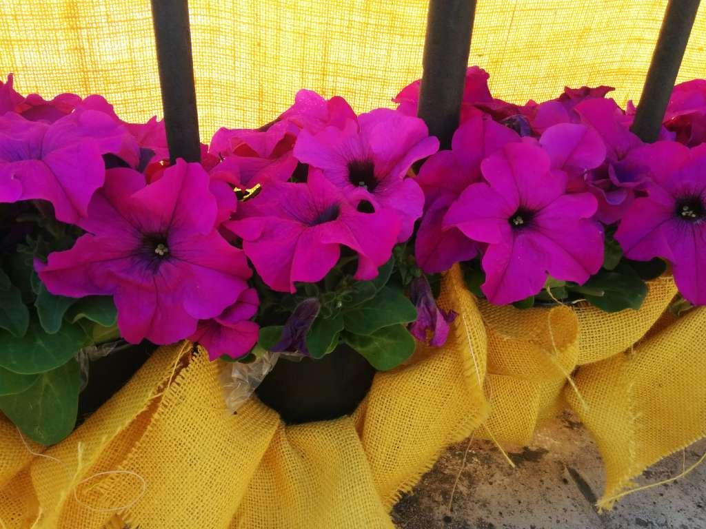 Flores en arpillera